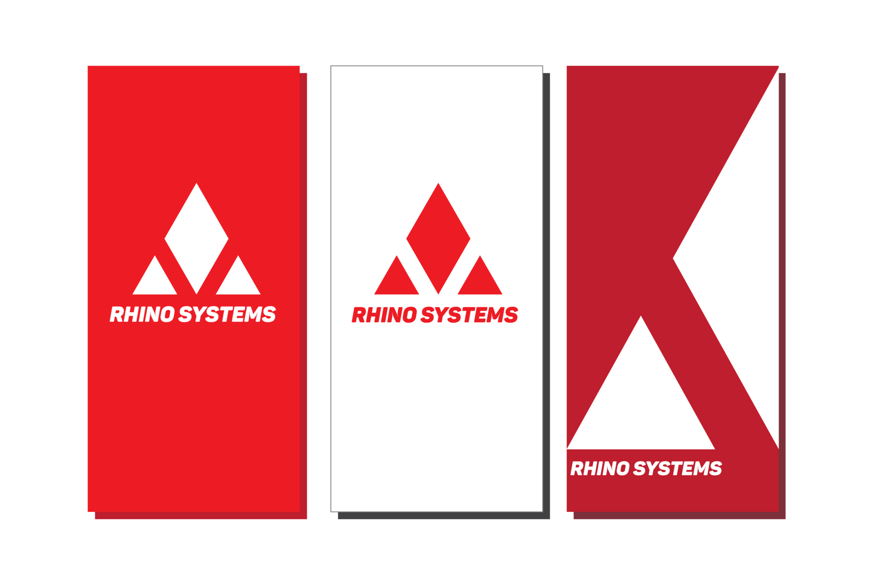 Cards for Rhino Systems displaying the identity of the company.