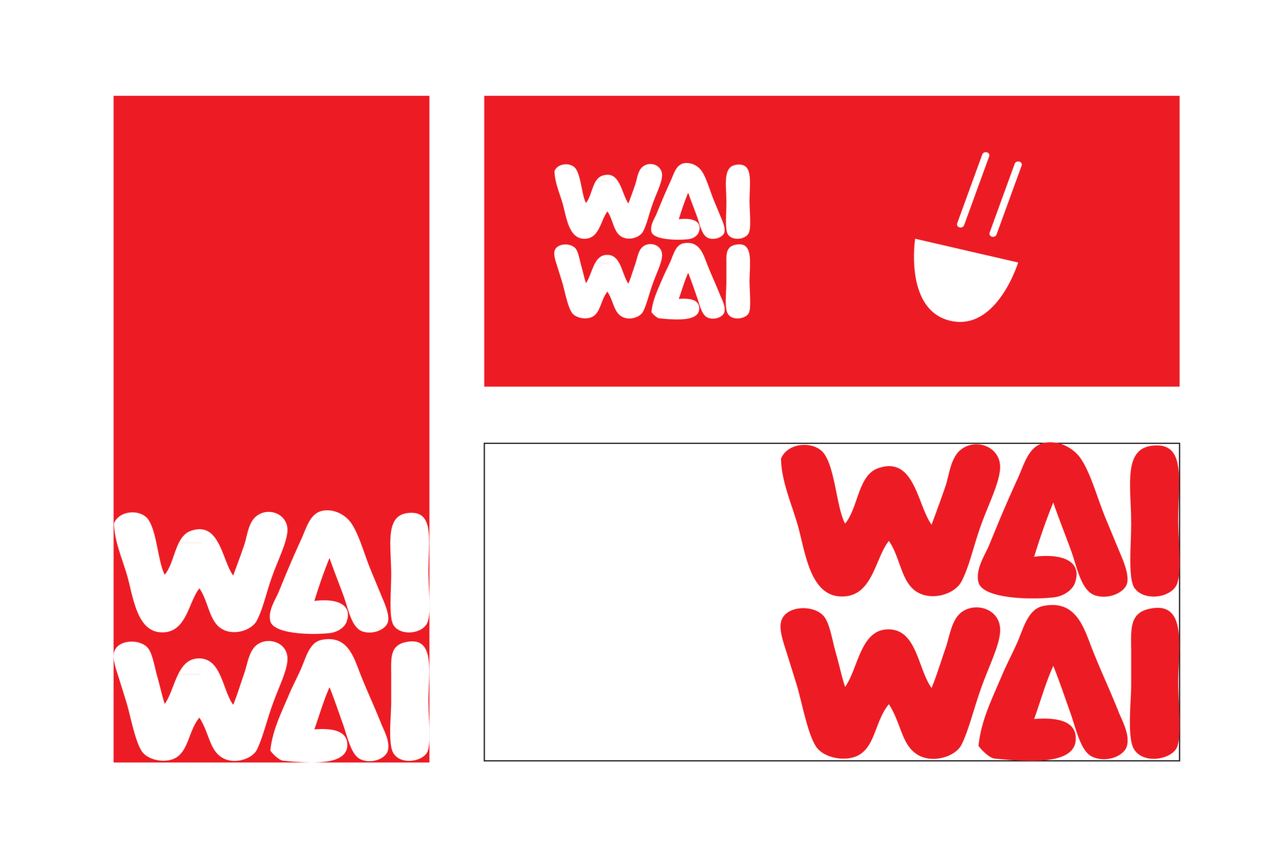 Cards for Wai Wai, illustrating its colour scheme and relation to its products.