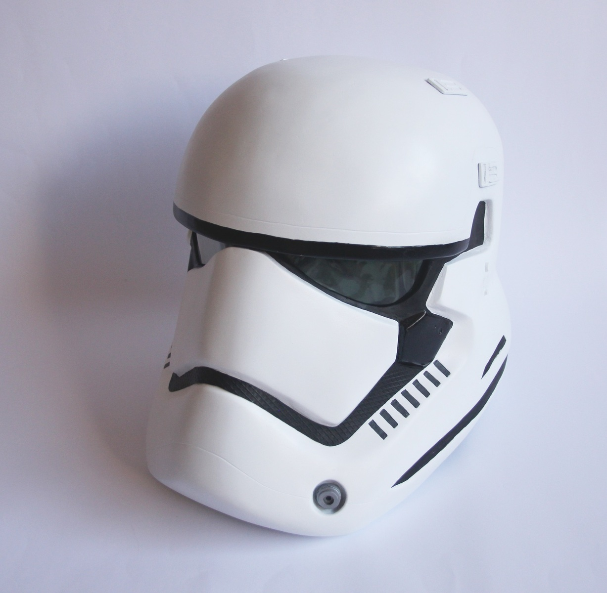 This First Order Stormtrooper helmet was created in a wearable 1:1 scale using paper, fibreglass, Bondo, and various other household items. Working time was approximately 1 month.