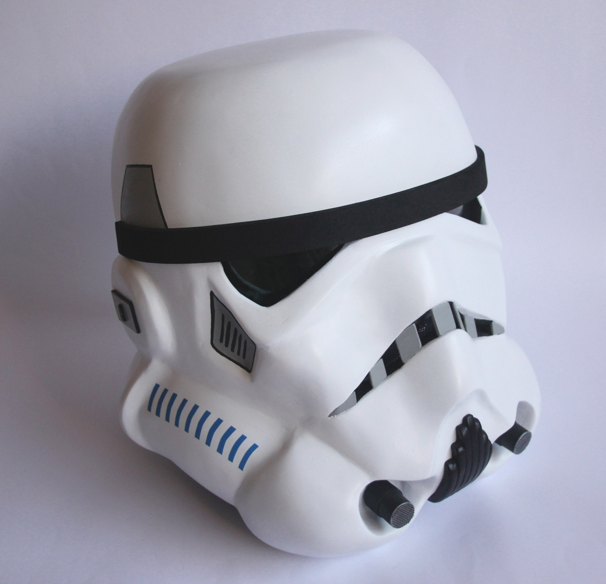 This Stormtrooper helmet was created in a wearable 1:1 scale using paper, fibreglass, Bondo, and various other household items. Working time was approximately 2 months.